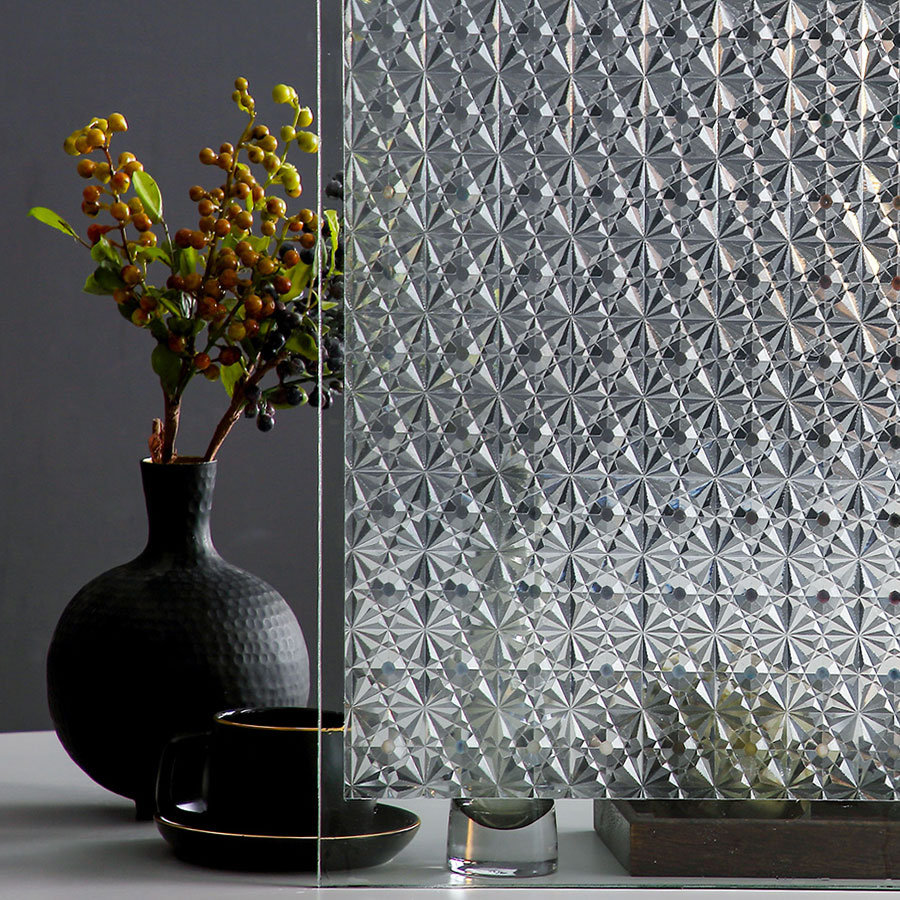 Privacy Frosted Window Film No-Glue Self Adhesive 3D Static Decorative Glass Stickers for Home Kitchen Office Anti-UV 2
