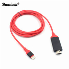 Bundwin نوع C USB 3.1 كابل وصلة بينية مُتعددة الوسائط وعالية الوضوح 4K 2 متر USB C إلى HDMI HDTV محول الكابل محول ل غالاكسي S8 لهواوي ماتي 10 برو P20