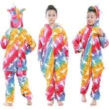 Pajamas Cosplay Jumpsuit Onesie Animal-Costume Unicorn Kigurumi Girls Kids Children Cartoon