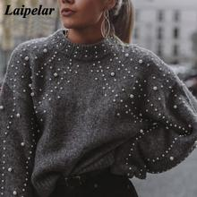 Winter Turtleneck Sweaters Pearl Beading Sweater Warm Lantern Sleeve Women Jumper Female Loose Gray Pullover Pull Knitted A4 недорого