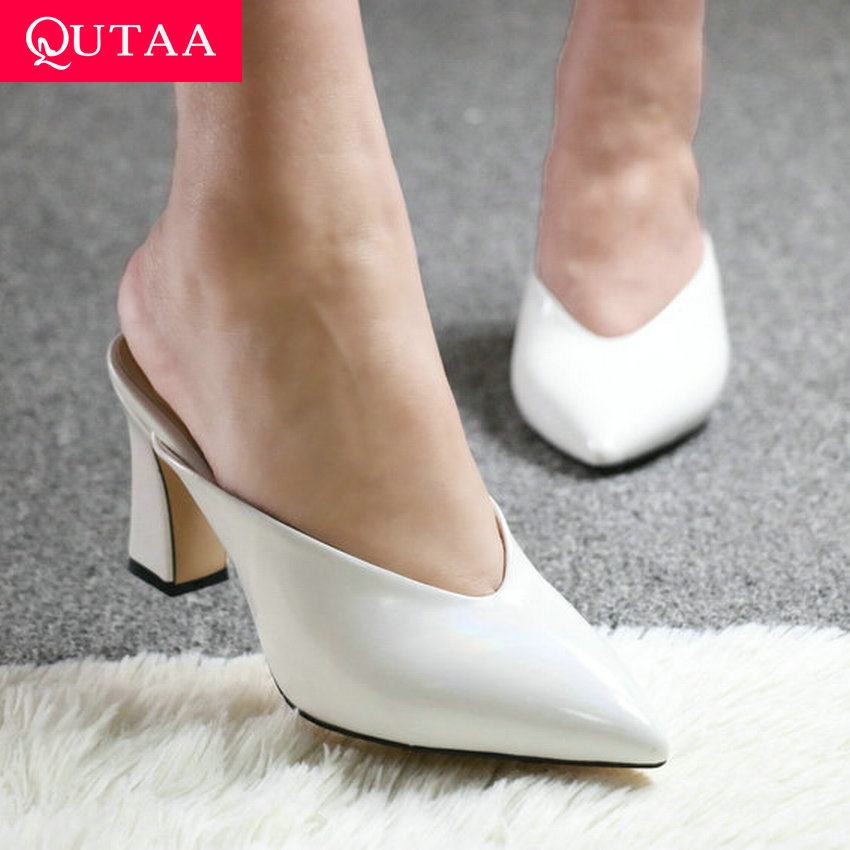 QUTAA 2020 Pointed Toe Fashion Slingback Sandals PU Leather Summer Ladies Pumps Square High Heel Slip On Women Shoes Size 34-43