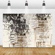 Laeacco Graffiti Alten Zeitungen Muster Wand Porträt Grunge Foto Hintergründe Fotografie Kulissen Für Foto Studio Photo