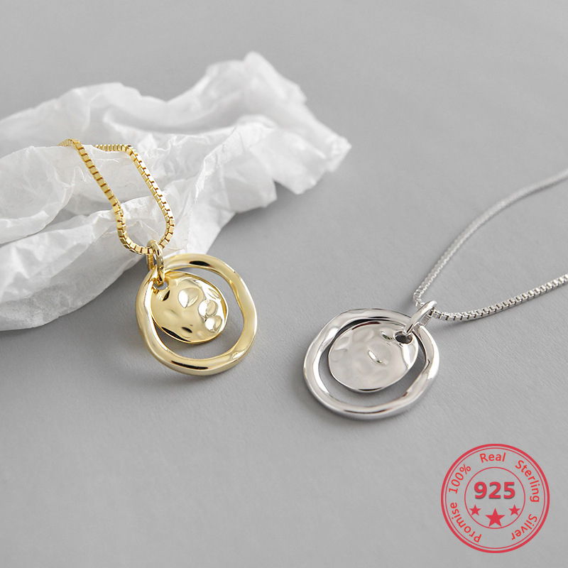 Real S925 Sterling Silver Fine Necklaces Simple Irregular Concave Surface Retro Fashion Pendant Necklaces Women Jewelry