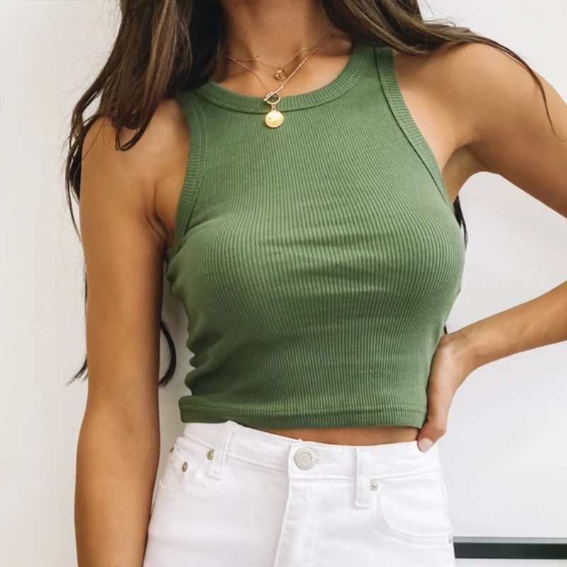 Ribbed Tank Top Women White 2020 Summer Casual Fitness Short Vest Candy Colors Knitted Off Shoulder Sexy Crop Top Women 1
