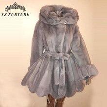 Abrigo de piel auténtica de manga larga para mujer, abrigo de piel auténtica de visón Natural con cuello tipo, chaqueta de piel auténtica cálida para invierno