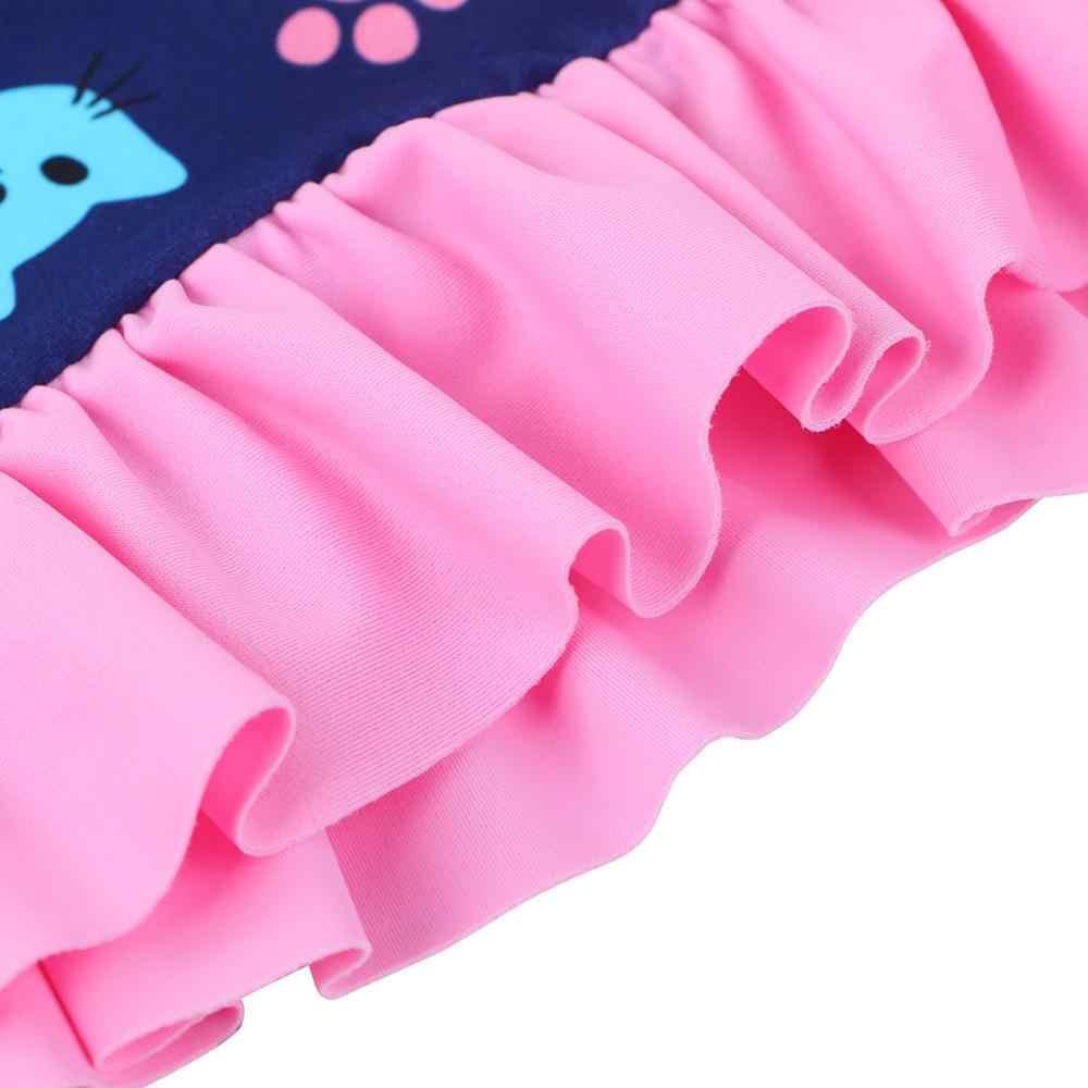 Baohulu Kartun Lucu Baju Renang UPF50 + Biru Merah Muda Lengan Panjang Kerut-kerut Gadis Pakaian Renang Anak Balita Pakaian Renang Pakaian Renang