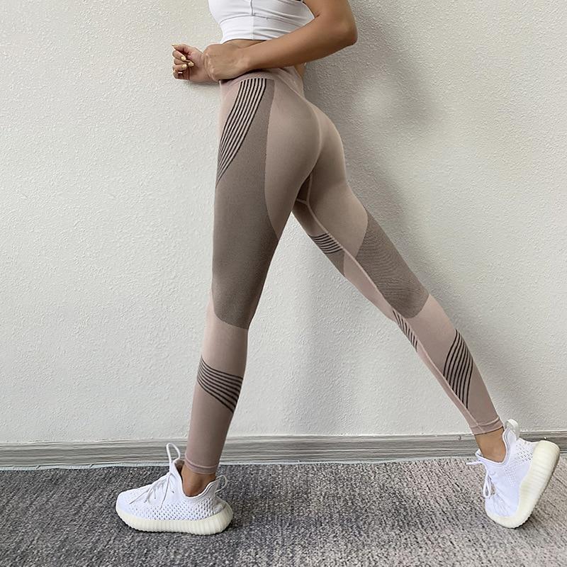 SVOKOR Women Leggings High Waist Peach Hips Gym Leggings Quick-drying Sports Stretch Fitness Pants 1