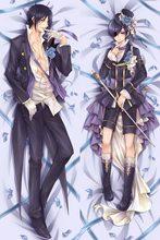 Anime japonais Kuroshitsuji Noir Butler Ciel & Sebastian Mâle BL Housse de Coussin Étreignant Corps Taies D'oreillers