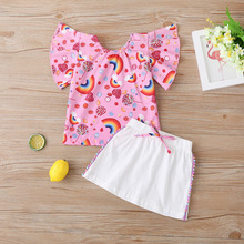 Toddler Baby Girl Clothes Set Kids Casual Rainbow Printed T-shirt Tops+White Skirt 2pcs Children Girls Summer Clothing Suit 0-5Y summer baby toddler girl clothes t shirt skirts kids clothes sports suit for girls clothes 2pcs set children clothing 3 7 year