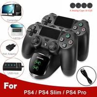 PS4 Ladegerät Lade Dock Station Dual USB mit LED Indikatoren Joystick Gamepad Ladegerät für Playstation 4/Schlank/Pro controller