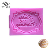 TTLIFE Happy Birthday Letters Turn Sugar Fondant Cake Decoration DIY Tools Silicone Mold Chocolate Candy Gumpaste Baking Moulds