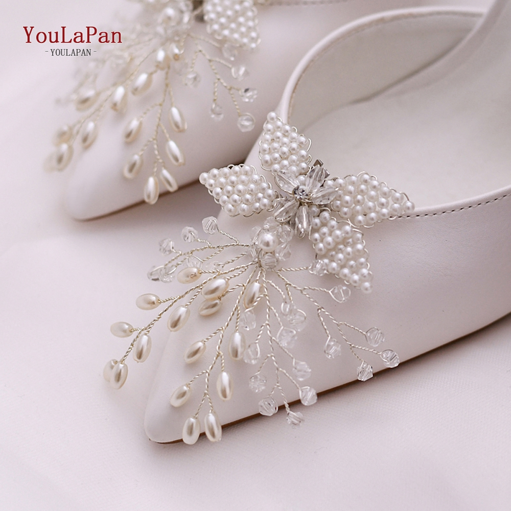YouLaPan 1 Pair Rhinestone Pearl Shoe Clips Crystal Charm Flower Decorative Shoe Clips Fashion Wedding Shoes Accessories X15-S