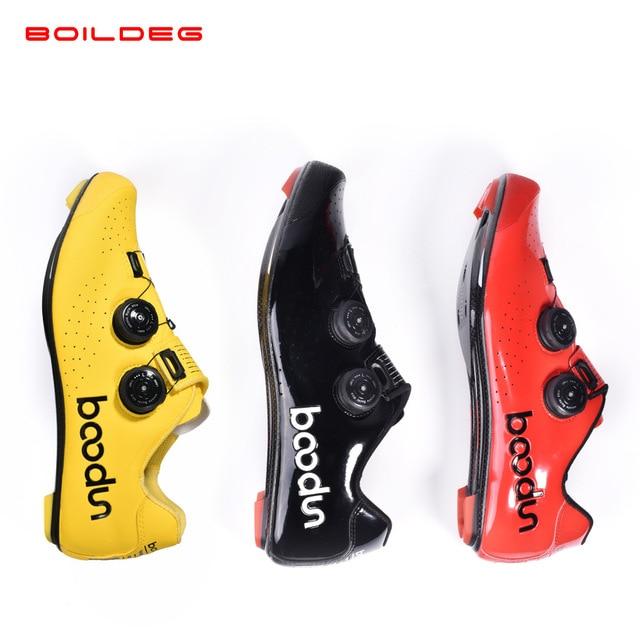 2019 novo quente sapatos de ciclismo de estrada de fibra de carbono auto-travamento ultraleve respirável wear antiderrapante profissional sapatos de corrida de bicicleta 2