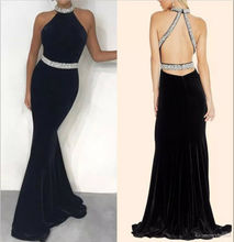Black Velvet Beaded Charming Mermaid Prom Wedding Party Dresses Celebrity Gowns