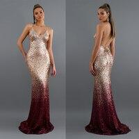Long Sparkle Ever Pretty 2019 New V Neck Women Elegant Sequin Mermaid Maxi Gold Evening Party Dress