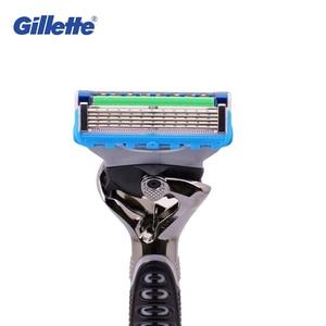 Image 4 - Original Gillette Fusion Power Razor Man Shaver Proglide Flexball Hair Removal Men Beard Clean Srtraight Shaver with Stand