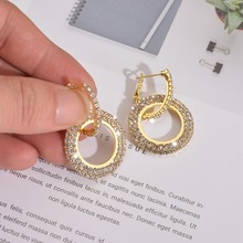 Fashion Double Round Small Hoop Earrings Gold Color Crystal Stud Earrings Trendy Gothic Earring Jewelry Gifts for Women fashion double round small hoop earrings gold color crystal stud earrings trendy gothic earring jewelry gifts for women