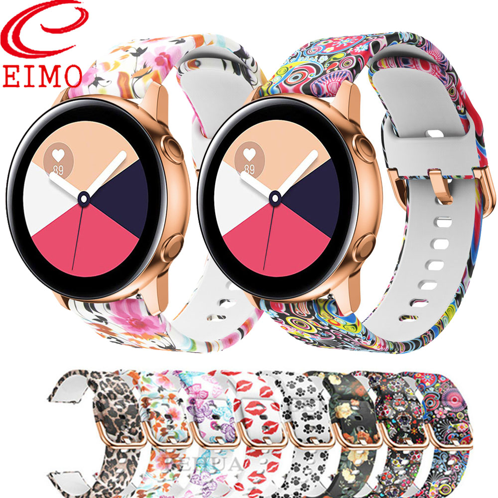 Galaxy Watch Band For Samsung Galaxy Watch Active 2 Strap/ 42mm Gear S2/Sport Band Printed Silicone Bracelet Amazfit Bip Strap