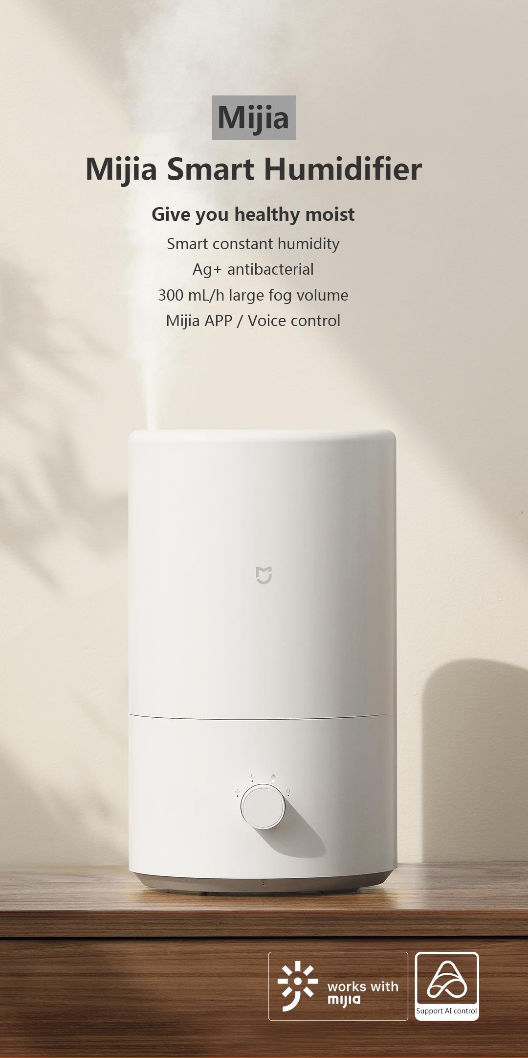 Xiaomi Mijia Smart Humidifier 25W 4L 300ml/h Heavy Fog Volume Constant Temperature Silver Ion Antibacterial Air Purifier 5