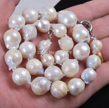 "HOT## Wholesale price FREE ^^Big 13-15mm Natural South Baroque White Akoya Pearl Necklace 18""(China)"