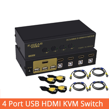 4 Port hdmi kvm switch USB auto hd HDMI 4 in 1out switch monitor keyboard mouse sharer with power supply send cables FJ-401HUA цена и фото
