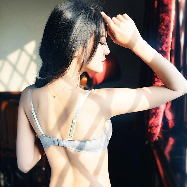 shaonvmeiwu Sexy bud embroidery ultra thin net gauze transparent bra set bra set tee pants 20