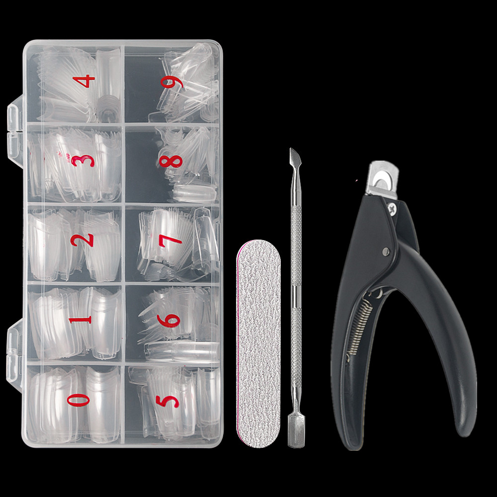 Half Cover False Nails Tips, 500pcs Acrylic Fake Nail Manicure Sets, French Style Artificial Nails with Designs For Nail Art 11