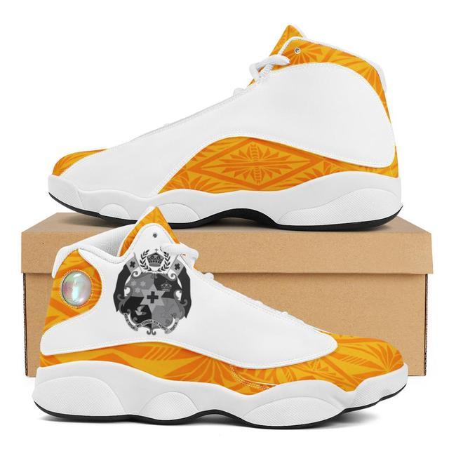 Buena calidad de la Polinesia Samoa Tribal naranja Tonga estilo zapatos de bola Logo de equipo deportivo de Baloncesto de los hombres zapatos deportivos 1