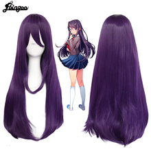 Ebingoo Doki Doki Literature Club Yuri Monika Natsuki Sayori DDLC High temperature fiber Synthetic Cosplay Wigs for Halloween