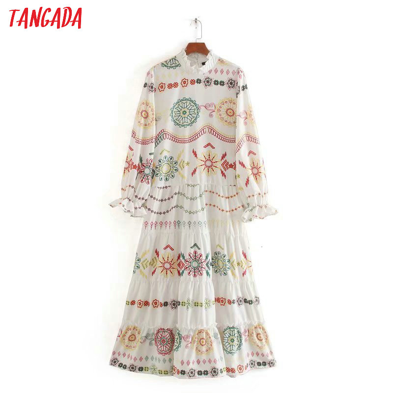 Tangada Fashion Women Boho Style Print Maxi Dress Ruffles Long Sleeve Ladies Vintage Long Dress Vestidos CE230