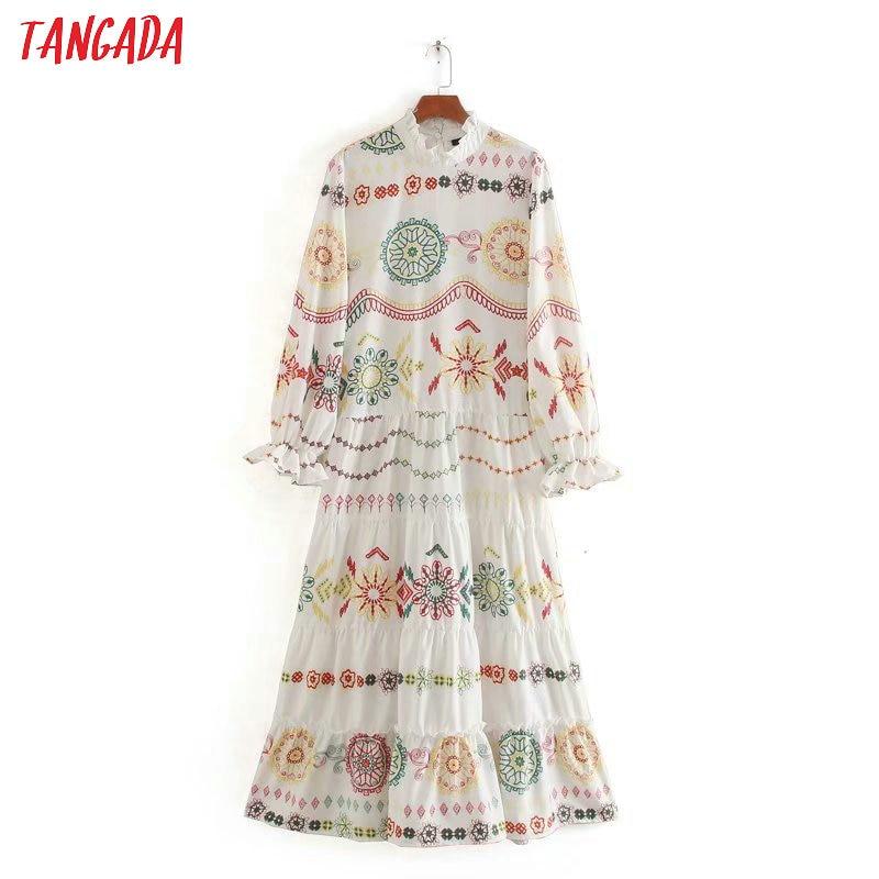 Tangada Fashion Women Boho Style Print Maxi Dress Ruffles Long Sleeve Ladies Vintage Long Dress Vestidos CE230