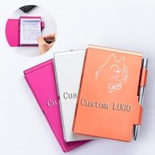 Качество изготовленный на заказ Логос персонализированный алюминиевый металлический внешний вид Блокнота с ручкой может оторвать стильный и удобный творческая ноутбук
