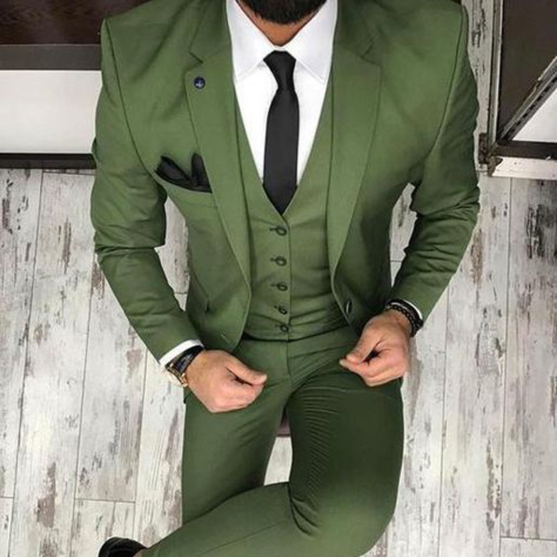 202023Arm Green Men Suits for Wedding Tuxedos 2018 Three Piece Jacket Pants Vest Groom Waistcoat Blazer Latest style