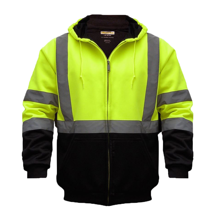 ZUJA Road Work Fleece Reflective High Visibility Hoodies Bomber Jacket For Men LBJ8018