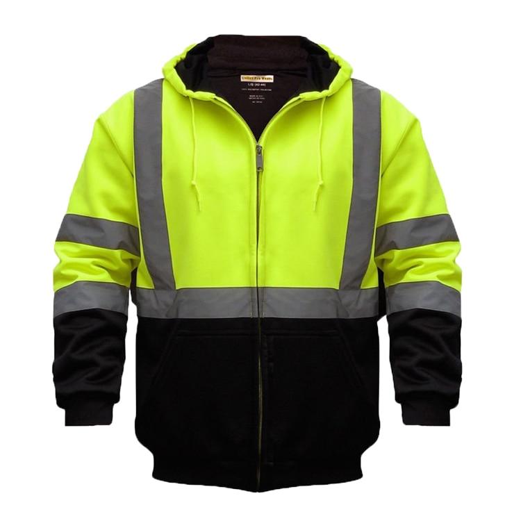 ZUJA Road Work Fleece Reflective High Visibility Hoodies Bomber Jacket For Men LBJ8018