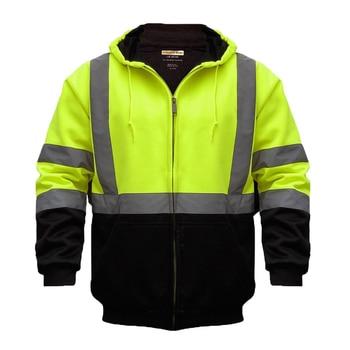 ZUJA, chaqueta bomber con capucha, reflectante, de alta visibilidad, para trabajo en carretera, para hombres, LBJ8018