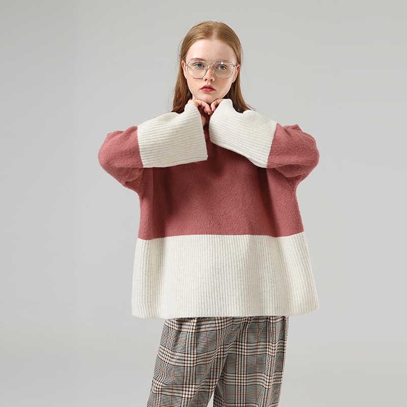 Toyouth Memukul Warna Lengan Panjang Sweter Wanita Patchwork Kasual Pullover Turtleneck Longgar Sweater