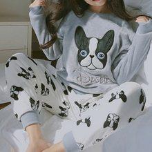 Menore Winter frauen Pyjamas Pyjama Set Hause Erhalten Tragen Lange e Cartoon Pijama Set Nachtwhe Frauen Pyjamas Dicke warme Nachtwsche