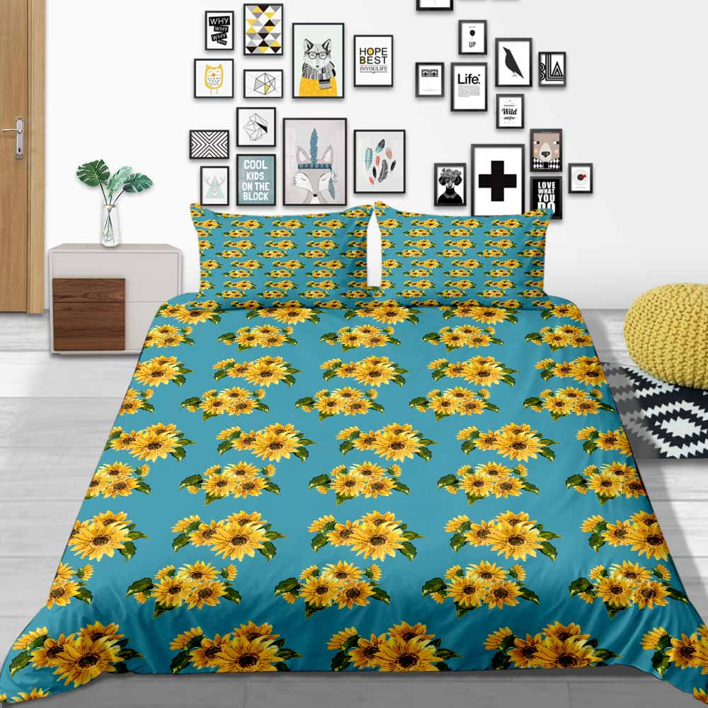 Thumbedding Sunflower Bedding Set Country Style Artistic Duvet Cover King Queen Twin Full Single Double Comfortable Bed Set image