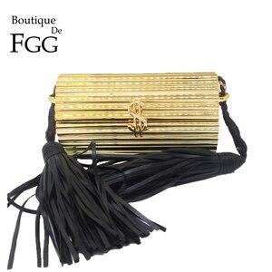 Image 1 - Butik De FGG siyah püskül kadınlar için Crossbody çanta 2020 yüksek kaliteli omuz çantası bayanlar tasarımcı akrilik kutu el çantası
