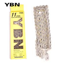YBN Bike Chains MTB Mountain Road Chians 11 Speed Hollow Bicycle Chain 116 Links Silver S11S with missinglink for M7000 XT