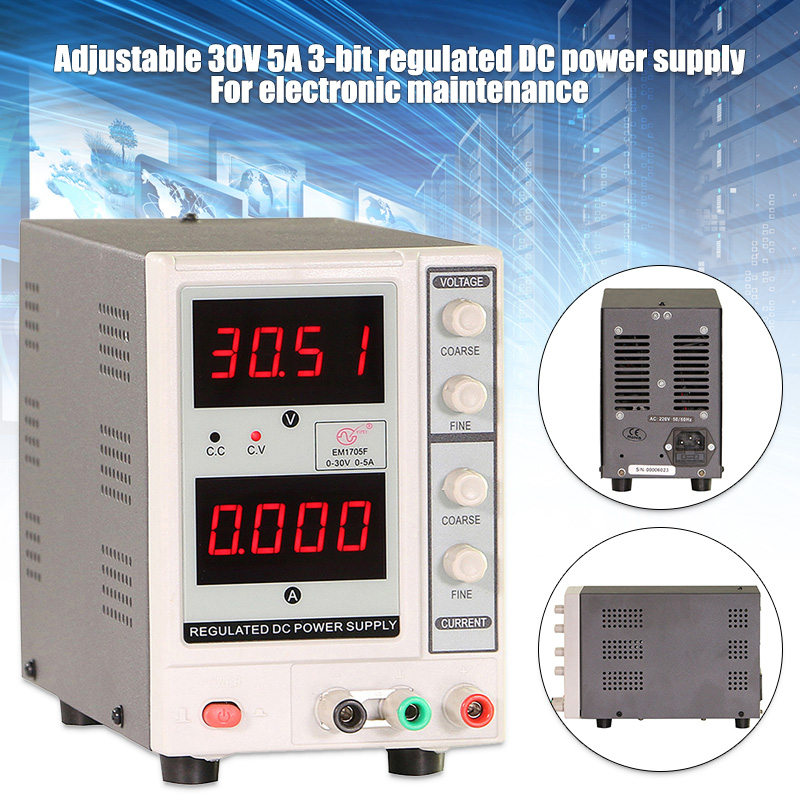 Direct Current Power Supply Adjustable 30V/5A 4 Digits Voltage Regulator for Electronics Repair CLH@8