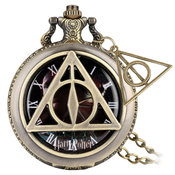 цена на Classic Movie Deathly Hallows Bronze Hollow-out Triangle Cover Pocket Watches With Antique Triangle Pendant Gifts For Men Women