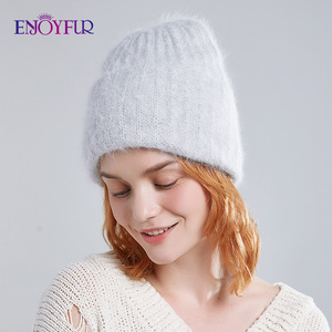 Image 4 - ENJOYFUR Winter rabbit fur hats for women warm wool lining girl  beanies fashion ladies bright color wide side young bonnets new