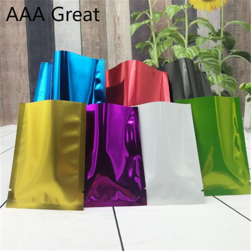 AAA Great Aluminum Foil Food Packaging Bag Snacks Pouches Mylar Flat Open Top Vacuum Package Moisture Proof Bags Storage 50Pcs