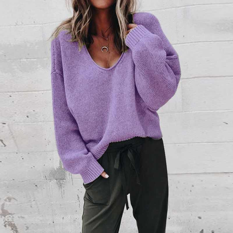 Dihope 여성 솔리드 오 넥 니트 스웨터 2020 가을 겨울 패션 여성 풀오버 스웨터 숙녀 느슨한 니트 dropship