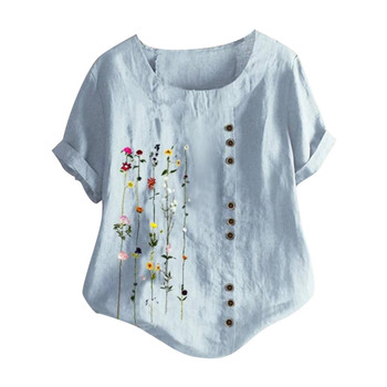 women's blouse Flowers Plus Size Women Bohemian Floral Embroidered Shirt Short Sleeves Top Blouse vintage clothes for wom 9