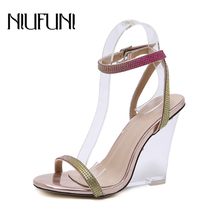 Women's Rhinestone Sandals Sexy Peep Toe Transparent Ladies Sandals Crystal Buckle Wedge High Heels Casual Shoes For Women bohemian sandals for women wedge shoes crystal decoration grey army green shoes ladies cute casual shoes rhinestone sandals