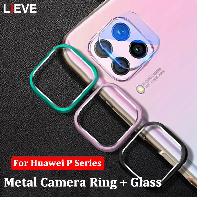 Camera Protector Glass For Huawei P40 Lite P30 P20 Pro Tempered Glass & Metal Protective Ring Cover For Huawei P30 Lite Case