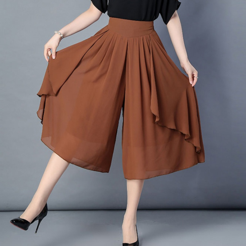 Irregular NEW Pleated Long Chiffon Skirt Spring Korean Style High Low A-line Solid Maxi Long Summer Office Shorts Skirts 6XL